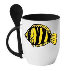 Кружка с керамической ложкой рыбка - FatLine