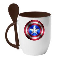 Кружка с керамической ложкой Щит Капитана Америка - FatLine