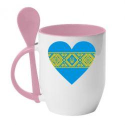 Кружка с керамической ложкой Серце України - FatLine