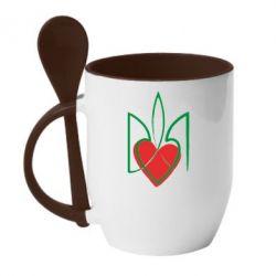 Кружка с керамической ложкой Серце з гербом - FatLine