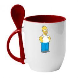 Кружка с керамической ложкой Серьезный Homer - FatLine