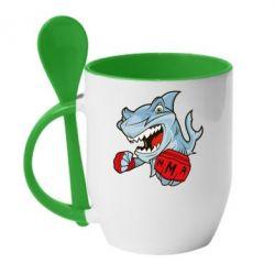 Кружка с керамической ложкой Shark MMA - FatLine