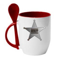 Кружка с керамической ложкой Sheriff - FatLine