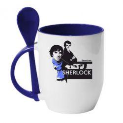 Кружка с керамической ложкой Sherlock (Шерлок Холмс) - FatLine