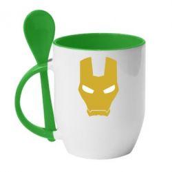 Кружка с керамической ложкой Шлем Железного Человека - FatLine
