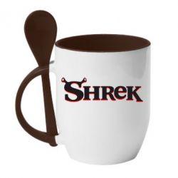 Кружка с керамической ложкой Shrek - FatLine
