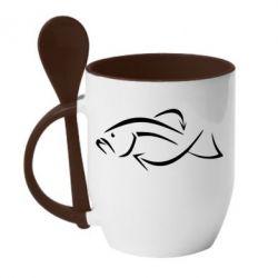 Кружка с керамической ложкой Силуэт рыбы - FatLine