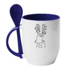 Кружка с керамической ложкой Simon's cat - FatLine