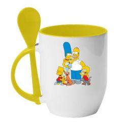 Кружка с керамической ложкой Simpsons Family - FatLine