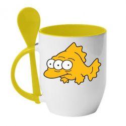 Кружка с керамической ложкой Simpsons three eyed fish - FatLine