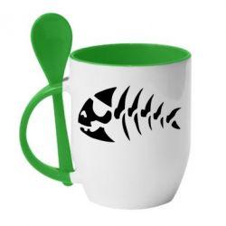 Кружка з керамічною ложкою скелет рибки - FatLine
