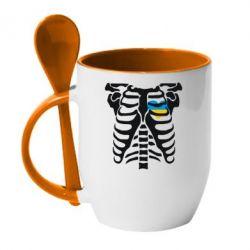Купить Кружка с керамической ложкой Скелет з сердцем Україна, FatLine