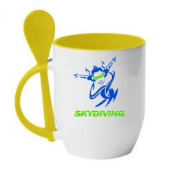 Кружка с керамической ложкой Skidiving