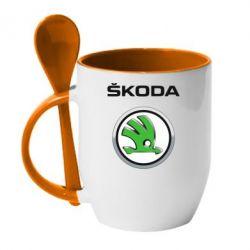 Кружка с керамической ложкой Skoda Logo 3D - FatLine