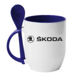 Кружка с керамической ложкой Skoda logo - FatLine