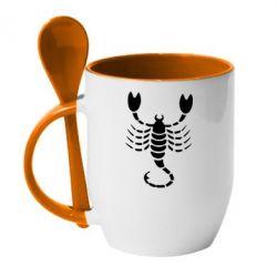 Кружка с керамической ложкой скорпион - FatLine