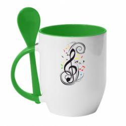 Кружка с керамической ложкой Скрипичный ключ - FatLine