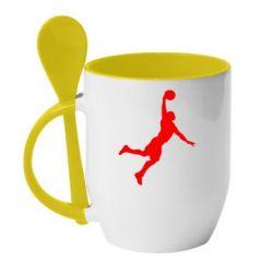 Кружка с керамической ложкой Slam dunk - FatLine