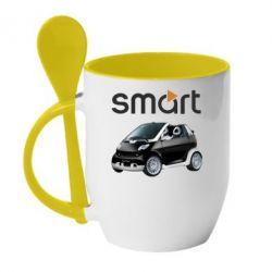 Кружка с керамической ложкой Smart 450 - FatLine