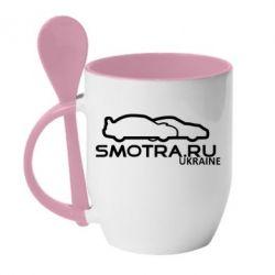 Кружка с керамической ложкой Smotra UA - FatLine