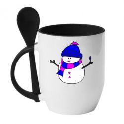 Кружка с керамической ложкой Снеговик - FatLine