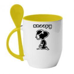 Кружка с керамической ложкой Snoopy - FatLine