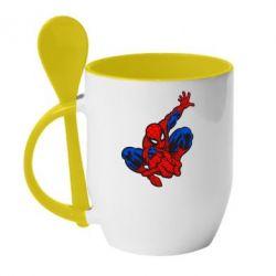 Кружка с керамической ложкой Spiderman - FatLine