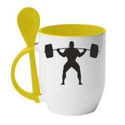 Кружка с керамической ложкой Спортсмен со штангой - FatLine