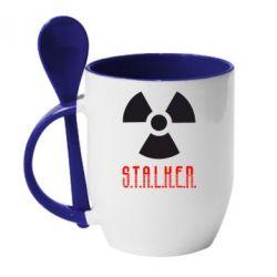 Кружка с керамической ложкой Stalker