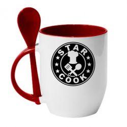 Кружка с керамической ложкой Star Cook
