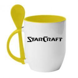 Кружка с керамической ложкой StarCraft - FatLine