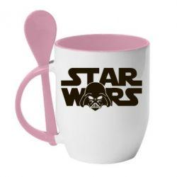 Кружка с керамической ложкой StarWars Logo - FatLine