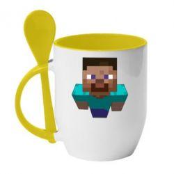 Кружка с керамической ложкой Steve from Minecraft - FatLine