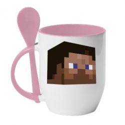 Кружка с керамической ложкой Steve Minecraft - FatLine