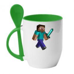 Кружка с керамической ложкой Стив - FatLine