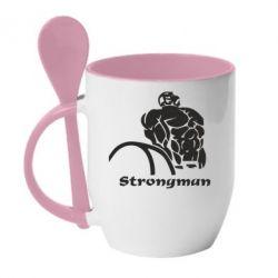 Кружка с керамической ложкой Strongman - FatLine