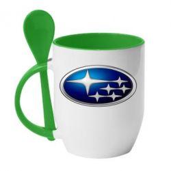 Кружка с керамической ложкой Subaru 3D Logo - FatLine