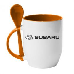 Кружка с керамической ложкой Subaru logo - FatLine