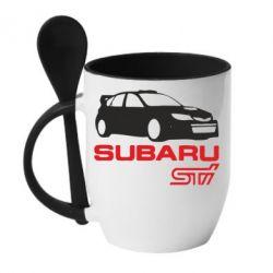 Кружка с керамической ложкой Subaru STI - FatLine
