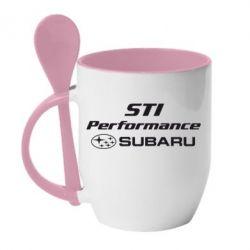 Кружка с керамической ложкой Subaru STI