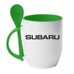 Кружка с керамической ложкой Subaru - FatLine