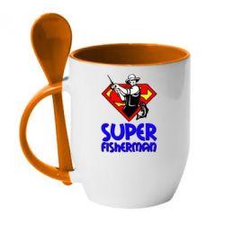 Кружка с керамической ложкой Super FisherMan - FatLine