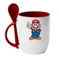 Кружка с керамической ложкой Супер Марио - FatLine