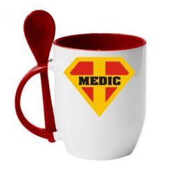 Кружка с керамической ложкой Super Medic - FatLine