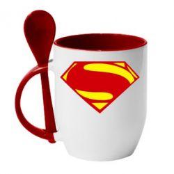 Кружка с керамической ложкой Superman Человек из стали - FatLine
