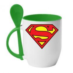 Кружка с керамической ложкой Superman Symbol - FatLine