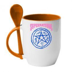 Кружка с керамической ложкой Supernatural круг - FatLine