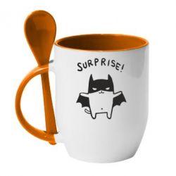 Кружка с керамической ложкой Surprise! - FatLine