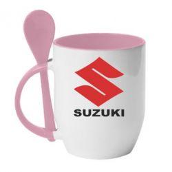 Кружка с керамической ложкой Suzuki - FatLine