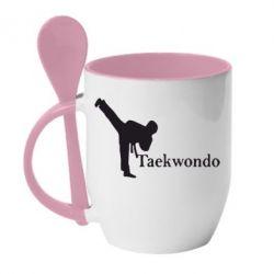 Кружка с керамической ложкой Taekwondo - FatLine